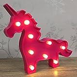 Rose vif à LED Licorne Circus lumière ~ Autonome ou à suspendre au mur