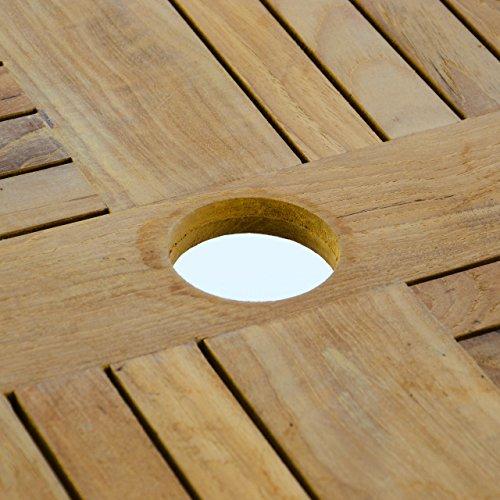 Nexos Trading Gartentisch Teak-Tisch - rund - Aluminiumgestell Teak-Holz-Platte - robust - Balkontisch Terrassentisch Ø 80 cm - braun (Tischplatte)