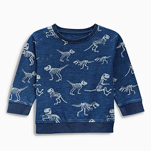 Zooarts for 2-7 Years Kids Boys Jumper Tops Dinosaurs Print Long Sleeve Knitted Cotton Sweater Shirt Romper Outfit Winter Clothes (3T)