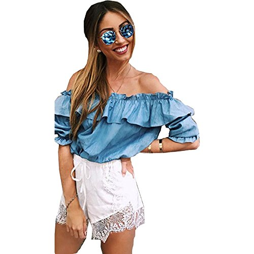 Tonsee Femmes Sexy Lady Encolure Ruffle Casual T-shirt Blouses Tops Bleu