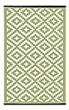 Green Decore Deko-Outdoor-Teppich Nirvana, wendbar, leicht, Kunststoff, 120x 180cm, Blattgrün/Weiß