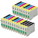 20 Epson Compatible Ink Cartridges (4 Sets + 4 Black) for Epson SX215 D120, D78, D92, DX400, DX4000, DX4050, DX4400, DX4450, DX5000, DX5050, DX6000, DX6050, DX7000, DX7400, DX7450, DX8400, DX8450, DX9400F, S20, S21, SX100, SX105, SX110, SX115, SX200, SX205, SX209, SX210, SX215, SX400, SX405, SX410, SX415, SX515W, SX600FW, SX610FW, BX300F, BX310FN, BX600FW Printers - Latest Version Double Capacity Inks - T0715 T0891 T0892 T0893 T0894 T0895 T0711 T0712 T0713 T0714 T0715