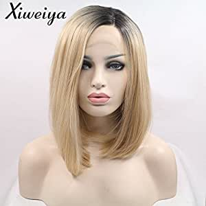 Xiweiya Short Bob Wig Ombre Blonde Side Part Heat Resistant Synthetic Lace Front Wigs For Women Dark Root Blonde Short Haircut Hand Tied Replacement Full Wigs
