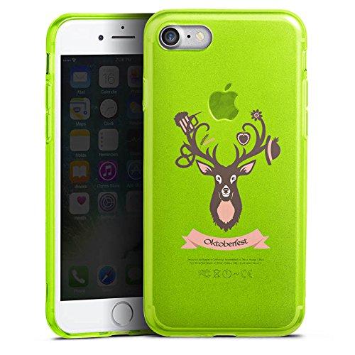 Apple iPhone 8 Silikon Hülle Case Schutzhülle Hirsch Oktoberfest Wiesn Silikon Colour Case neon-grün