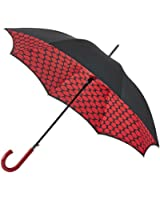 Lulu Guinness Lips Grid Red & Black Bloomsbury-2 Lined Walking Umbrella Auto Open Brolly