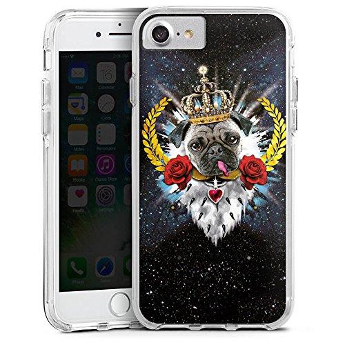 Apple iPhone 7 Bumper Hülle Bumper Case Glitzer Hülle Mops King Zunge Chien Dog Bumper Case transparent