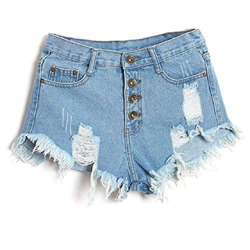 Minetom Donne Jeans Vita Bassa Estate Buco Hot Pants Pantaloncini Denim ( Blu chiaro EU S )