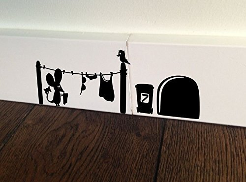 MOUSE Washing Hole Home Live funny wall art decal stickers Baseboard Kids Mice Skirting Board birds by spb87