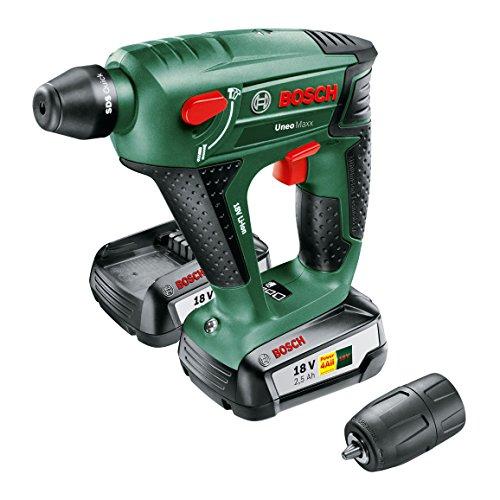 Bosch DIY Akku-Bohrhammer Uneo Maxx, 2 Akku, Ladegerät, Rundschaftadapter, 2 SDS-Quick Betonbohrer, 2 Hex-Schaft Bohrer, 4 Bits, Koffer 18 V, 2.5 Ah, 10 mm Bohr-Durchmesser Beton