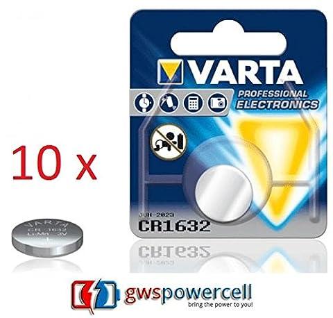 GWS Powercell®–Varta Professional CR1216/CR1220/CR1225/CR1616/CR1620/CR1632Button Cell Batteries/CR2016/CR2025/CR2032/CR2320/CR2430/CR2450, Packed in Blister Individual CR1632 - 10 pezzi