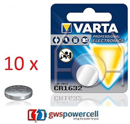 GWS-POWERCELL® VARTA PROFESSIONAL LITHIUM CR1216 / CR1220 / CR1225 / CR1616 / CR1620 / CR1632 / CR2016 / CR2025 / CR2032 / CR2320 / CR2430 / CR2450 jeweils im Einzelblister verpackt / NEU & OVP (CR1632, 10 Stück)