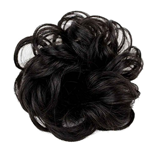 wellte lockige Teller Haarknoten Verlängerung Haarteil Scrunchie Chignon Natürliches Schwarz (Halloween-kostüme Mit Schwarzen Perücken)
