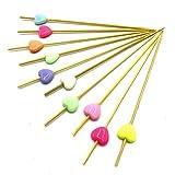 realegend 11,9cm Party Rüschen Herz Zahnstocher, multicolor