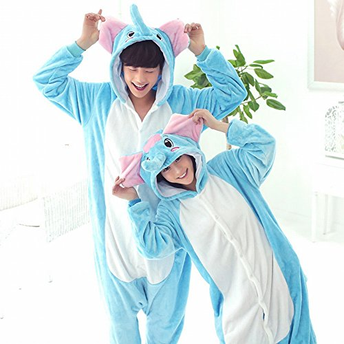 (CWJ Unisex Adult Pyjamas - Plüsch One Piece Cosplay Tier Kostüm Winter Verdickung Freizeitbekleidung,Elefant,M)