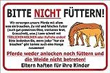 Schild - Pferde nicht füttern - Weide betreten verboten (20x30cm)