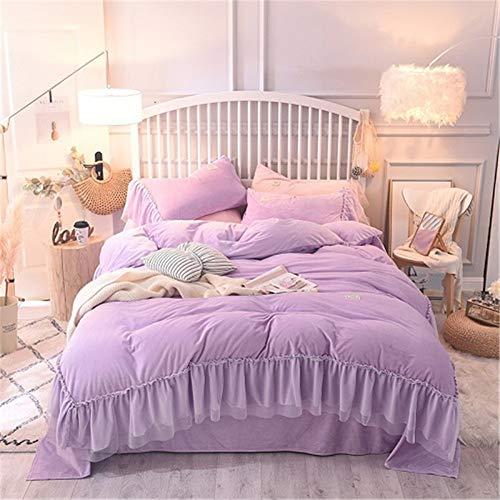 guangtou Fleece Warm Pink Princess Bettwäsche-Set Twin Queen-Size-Bettbezug für Königin Bettbezug-Spannbetttuch-Set für Kinder, 002, Queen-Size, Bettlaken-Stil (Queen Kinder Bettbezug)
