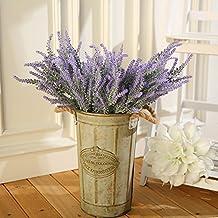 Flores artificiales de lavanda LUYUE para decoraciones de casa y boda. Púrpura, 8paquetes