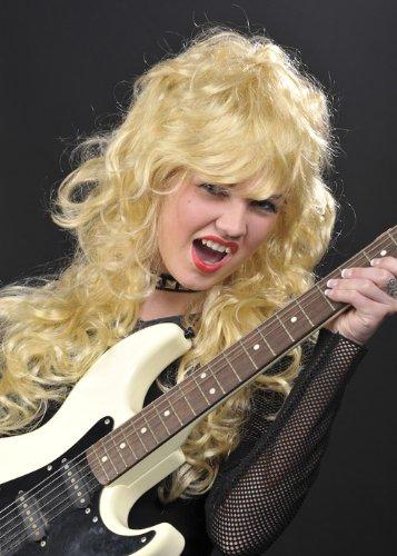 Womens 80s lange lockige Blonde Rock Chick Perücke