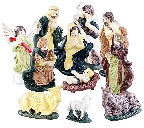 Britesta Krippenfiguren: 11-teiliges Weihnachtskrippen-Figuren-Set aus Porzellan, handbemalt (Krippenfigurenset)