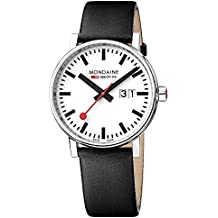 Mondaine evo2 40 mm sapphire Big Date Watch with St. Steel polished Case white Dial and black leather   Strap MSE.40210.LB
