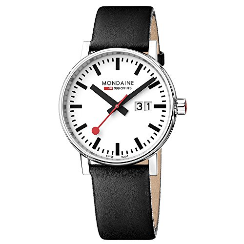 Mondaine Men's evo2 40 mm sapphire Big Date Watch with St. Steel polished Case white Dial and black leather   Strap MSE.40210.LB
