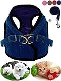 Z ZHIZU Hundegeschirr Reflektierend atmungsaktiv für große, mittelgroße, Mittlere & Kleine Hunde Geschirr Hund Katze Brustgeschirr Dog Harness (L, Dunkelblau)