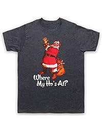 Where My Ho's At Santa Claus Father Christmas Funny Parody Slogan Herren T-Shirt