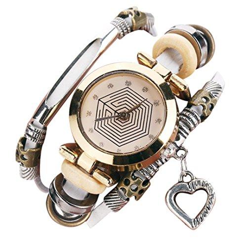 Ouneed® Uhren, Luxus-Marken-Weinlese-Armband-Uhr-Armbanduhr-Dame-Kleid-Quarz-Uhr (Weiß) Womens Römischen Stil Kleid