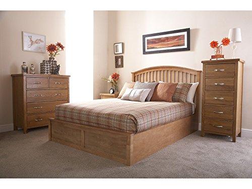 Madrid 4ft6 Double Wooden Ottoman Bed - Oak