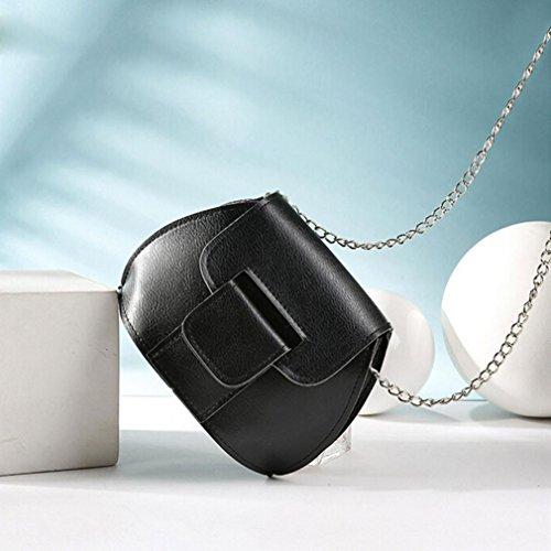 Saingace Art- und Weisefrauen-lederner Kettenhandtaschen-Kreuz-Körper-einzelne Schulter-Telefon-Münzen-Beutel Handtaschen Schultertasche Schwarz