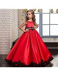 f7cfad602 Cvbndfe Suave Vestido de Fiesta Vestido de satén clásico para niños Flor de  niña Mullida Boda Chica Chica Vestido de…