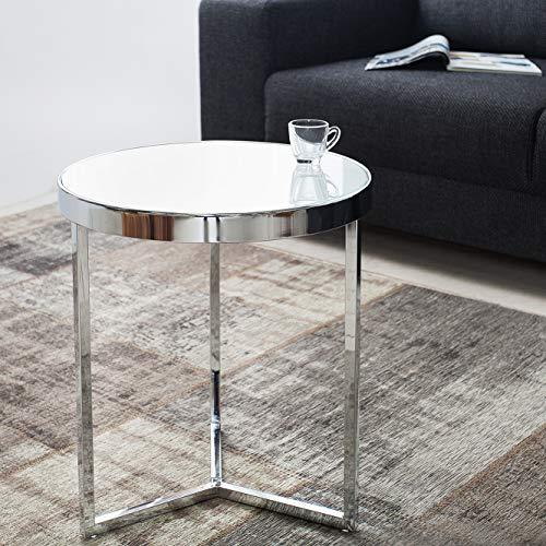 CAGÜ: Design Beistelltisch [Diana] Weiß Opalglasplatte auf stylischen Dreibein-Chromgestell 50cm Höhe Art Deco