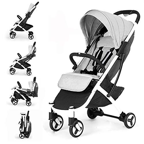 Allis Lightweight Stroller Baby Pushchair Buggy Travel Pram Plume - Grey