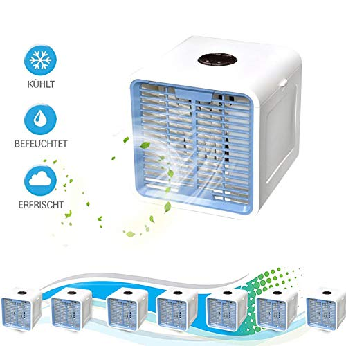 9FMZZzi81E 3in1 Mini Air Cooler Mobile Klimaanlage Tischventilator Luftkühler Aircooler Klimagerät Klima tragbar Ventilator Luftbefeuchter Luftreiniger 3 Leistungsstufen Klimagerät leise