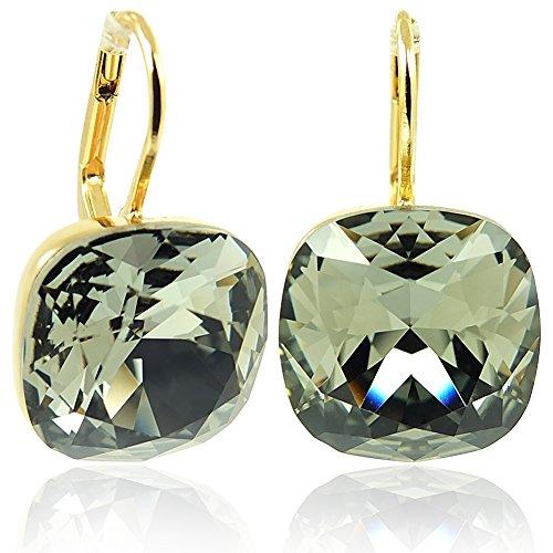 Ohrringe mit Kristallen von Swarovski® Grau Gold NOBEL SCHMUCK