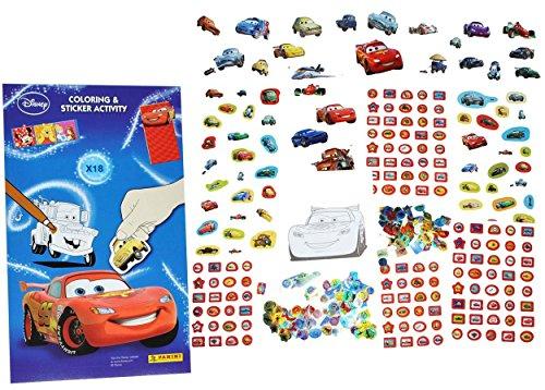 Unbekannt 500 TLG. XXL Set: Sticker & Malblock -  Lightning McQueen / Disney Cars  - 3-D Aufkleber & Normale - mit AusmalBlock - groß - Auto Fahrzeuge Car Autos - Mc ..