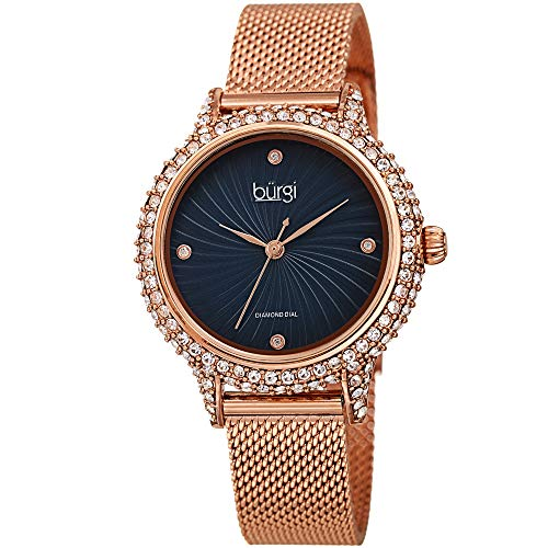 Burgi Swarovski BUR250 Women's Swarovski Crystal Studded Case Watch with 4...