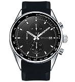 SONGDU Herren Mode Analoge Quarz Uhr Chronograph Armbanduhr Edelstahl Zifferblatt Silikon Band (schwarz)