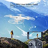 Holy Stone HS110D Drone with Camera Live Video FPV 120°Wide-Angle WiFi RC Quadcopter for Kids and Adults with Altitude Hold Headless Mode 3D Flips RTF with 4G TF Card Modular Battery, White