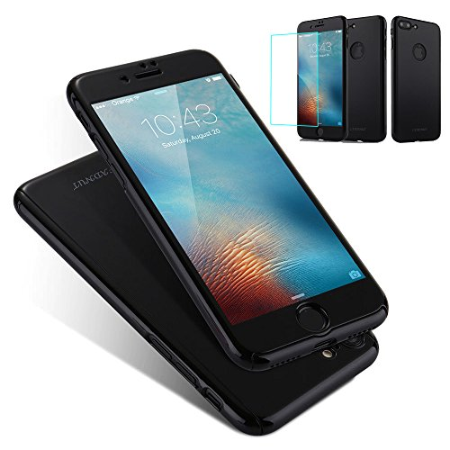 Jet Black Case For iPhone 6 6S (4.7 inch),L-FADNUT 3in1 Hybird 360 Full Body Protective Hard Thin Bumper Tempered Glass Screen Protector [Front and Back] Case Shockproof Cover For iPhone 6/6S - Jet Black