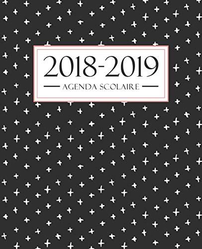 Agenda scolaire 2018-2019: 19x23cm : Agenda 2018 2019 semainier : Motif noir, blanc et corail por Papeterie Bleu
