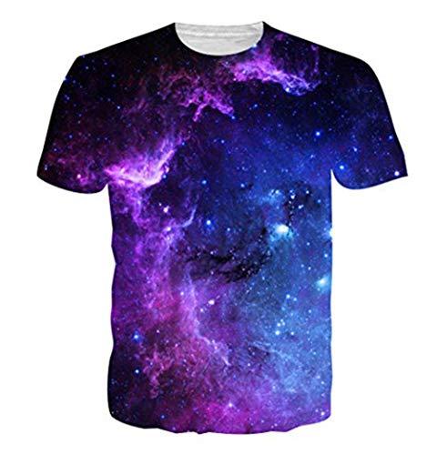 Funnycokid Young Tees Überall 3D Drucken Grafik T-Shirts Galaxy Sommer Teenager Jungen T-Shirt Blau - Shirt Grafik