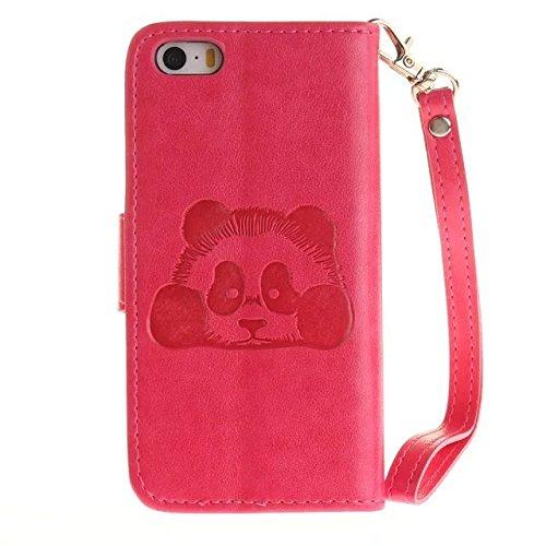 Etsue Handytasche für iPhone SE/iPhone 5S lila, Brieftasche Hülle für iPhone SE/iPhone 5S [Mädchen Schmetterling] Muster Lederhülle Handyhülle Einzigartig Flip Hülle Leder Schutzhülle Vintage Wallet C Karikatur Panda,Hot Pink