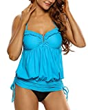 YoungSoul Damen Einfarbig Neckholder Push up Tankini Ohne Slip Bandeau Badekleid Flacher Bauch Badeanzug Blau DE 32-34