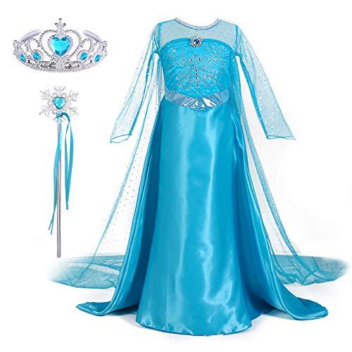 en Prinzessin Kostüm Kinder Eiskönigin ELSA Kleid Karneval Frozen Cosplay Verkleidung Set Diadem Zauberstab Umhang Outfit Blau Party Weihnachtskostüm Fasching Geburtstag Geschenk ()