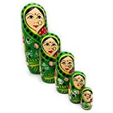 Craft Hand Traditional Indian Nesting Wooden Doll/ Hand Painted Matryoshka Stacking Dolls- Set Of 5 Piece (Lady In Green Saree)