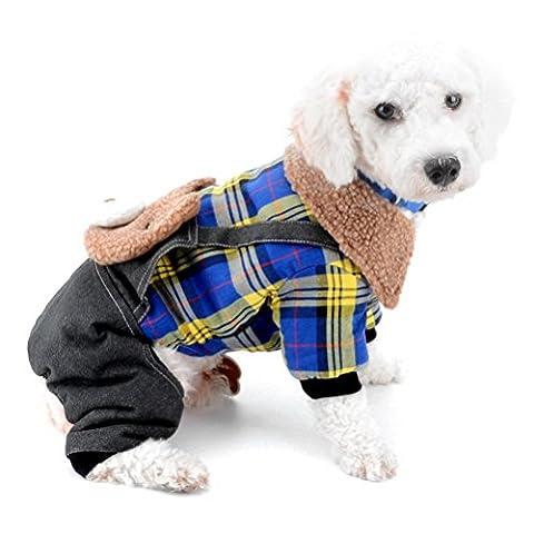 Zunea Denim Salopette pour chiens de petite taille avec doublure polaire Ours Plaid Manteau Combinaison Combinaison pyjama Four-legs Pantalon d'hiver chaud pour animal domestique Chiot Chat Chihuahua Doggie