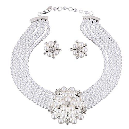 Cheerlife Luxus Strass-Blumen Perlenkette mit Ohrring -Sets Mehrschichtige Perlen Halskette Kragenkette Abendkette Hochzeit Schmuck