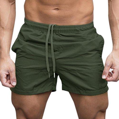 Hosen Herren Sweathose Sommer Sport Gym Shorts Stretch Slim Fit Hosen Trainingshose Casual Elastisch Taille Jogging Hosen Männer Lässige Shorts,ABsoar (M, Armeegrün)