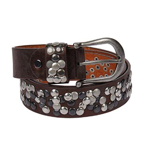 51182 Leder Gürtel silber Nieten Vintage Style alle Grössen Damengürtel kürzbar (95, Dunkelbraun Metallic) -